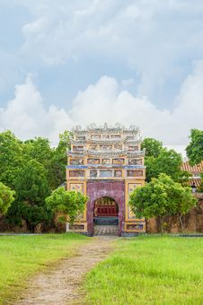 Ancient Gate In Citadel Of Hue Imperial City Stock Image