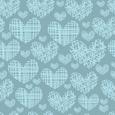 Seamless Pattern With Embroidery Of Hearts