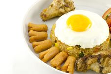 American Fried Rice  On White Royalty Free Stock Image