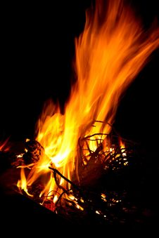 Bright Fire For Braai With Black Background Royalty Free Stock Photography