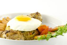 American Fried Rice  On White Stock Photo