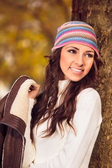 Young Woman In A Romantic Autumn Scenery Royalty Free Stock Image