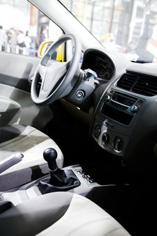Car Front Seats And Control Panel Royalty Free Stock Photo
