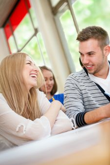 Free Happy Students Talking Royalty Free Stock Photography - 34668697