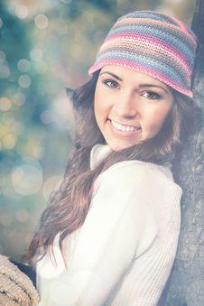 Outdoor Autumn Portrait Of Beautiful Girl Stock Photos