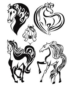 Free Silhouettes Of Horses. Set 1 Stock Images - 34679094