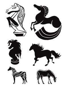 Free Silhouettes Of Horses. Set 3 Royalty Free Stock Photography - 34679687