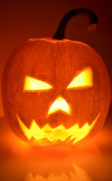 Halloween Pumpkin Head Glowing In The Dark Royalty Free Stock Photography