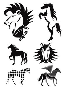 Free Silhouettes Of Horses. Set 4 Royalty Free Stock Image - 34681006
