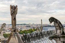 Statues And Chimeras &x28;gargoyles&x29; Of The Cathedral Of Notre Dame Stock Photo