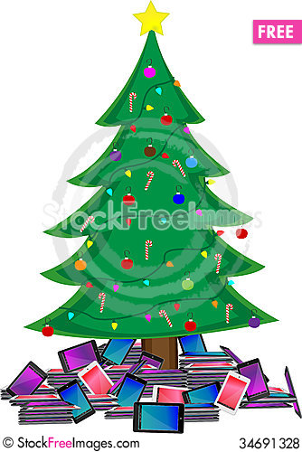 Free Christmas Tree With Tablets Royalty Free Stock Photos - 34691328
