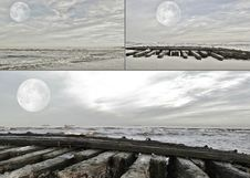 Full Moon Collage Stock Images