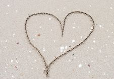 Free Heart Drawn Into The Sand Stock Photo - 34694990