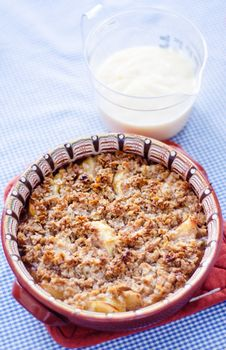 Free Apple Crumble With Vanilla Sauce Royalty Free Stock Image - 34695426