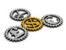 Free Dollar Euro Gear Stock Photography - 34698482
