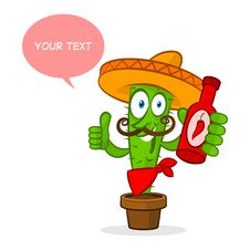 Free Cactus Holds Hot Sauce Royalty Free Stock Images - 34698979
