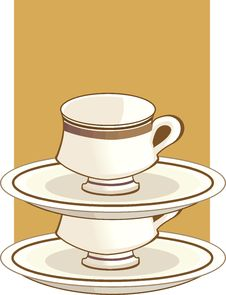 Free Cup And Saucer One On Another Stock Image - 3471991