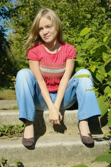 Free Girl Sitting On Footsteps Stock Images - 3472484