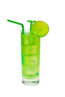 Free Green Cocktail With Lime Stock Images - 3473404