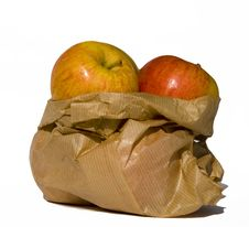 Apples And Paper Bag Stock Photography