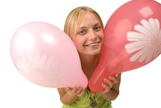 The Girl With Balloons Royalty Free Stock Photography
