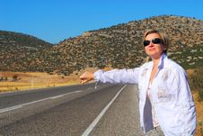 Free The Girl On Road Royalty Free Stock Image - 3474706
