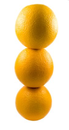 Three Oranges Isolated Royalty Free Stock Image