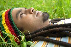 Sad Jamaican Thinking Stock Photo