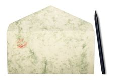 Envelope With Lipstick Print And Japanese Pen Royalty Free Stock Photography