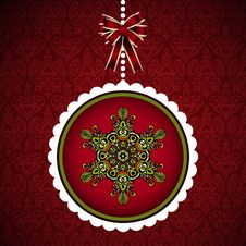 Free Christmas Card With Hanging New Year  Ball Royalty Free Stock Photos - 34710238