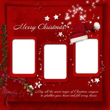 Free Christmas Red Background With Warm Wishes Royalty Free Stock Photography - 34710737