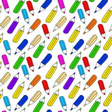 Free Seamless Pattern Of Many Colored Pencils Stock Photos - 34713473