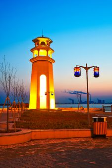 Free The Lighthouse Sunset Royalty Free Stock Image - 34715076