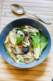 Free Asian Broth With Pak Choy Stock Images - 34717734
