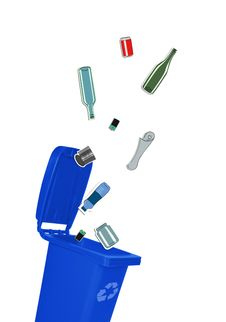 Free Closeup Of Blue Recycle Bin Stock Images - 34717754
