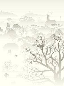 Free Illustration Of Misty Valley With Nest In Tree. Stock Photos - 34718143