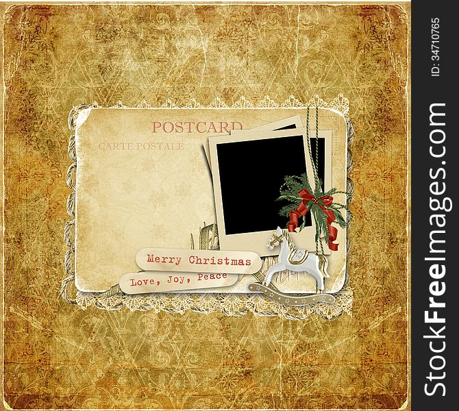 Vintage background with Christmas cards and decorations