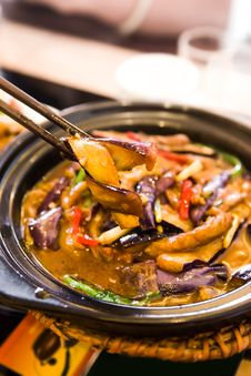 Chinese Food,Stew Eggplant Stock Photo
