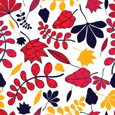 Free Seamless Autumnal Leaves Pattern Stock Image - 34723321