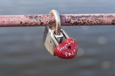 Padlock Red Heart-shaped Stock Images