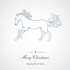 A Horse - Symbol Of New 2014 Year Stock Images
