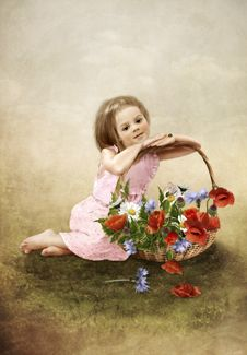 Free The Girl With A Basket Of Flowers Royalty Free Stock Image - 34725146