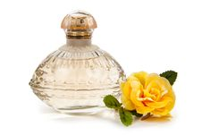 Free Women S Perfume And A Flower Isolated Stock Photo - 34725960