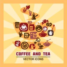 Free Colorful Coffee And Tea Icons Royalty Free Stock Images - 34728369