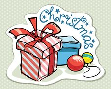 Free Christmas Card With Colorful Gifts Doodles Royalty Free Stock Image - 34733736