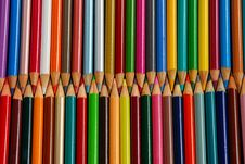 Rows Of Pencil Crayons Royalty Free Stock Photography