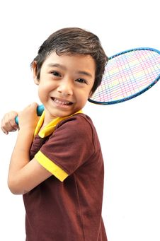 Free Sport Boy Play Badminton Stock Photos - 34736803