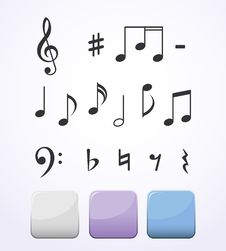 Free Music Notes Set Royalty Free Stock Photo - 34741865