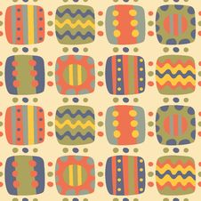 Seamless Abstract Bright Patterns With Elements Royalty Free Stock Images