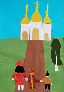 Free Children Applique With Church And Family Royalty Free Stock Photography - 34743417